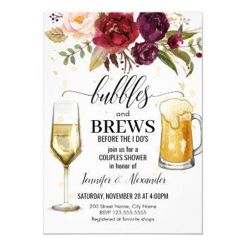 bubbles & brews couples shower invitation