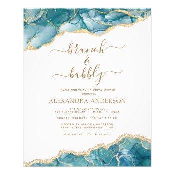 budget agate teal brunch & bubbly bridal shower flyer