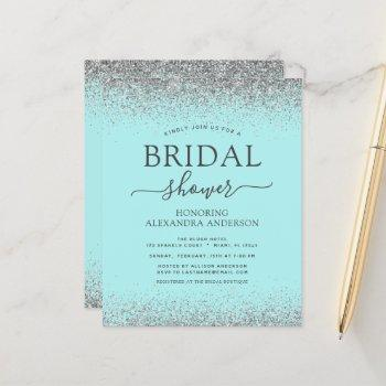 budget aqua blue teal silver glitter bridal shower
