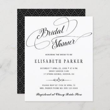 budget black white script bridal shower invitation