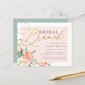 budget blush & gold script floral bridal brunch