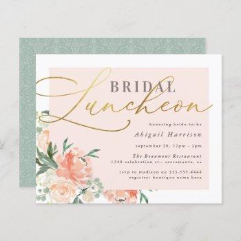budget blush & gold script floral bridal luncheon