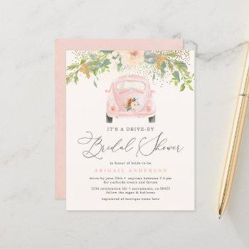 budget blush pink floral drive by bridal shower