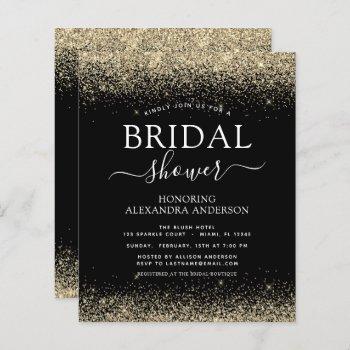 budget bridal shower glitter black gold girly