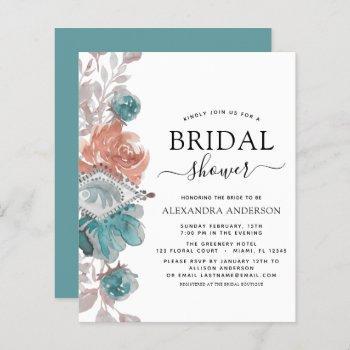 budget bridal shower turquoise pink invitation