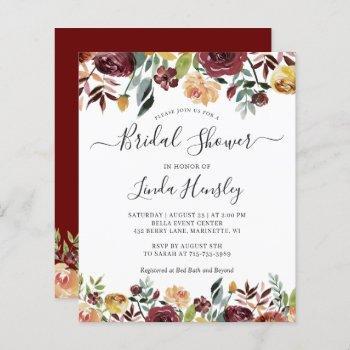 budget burgundy floral bridal shower invitations