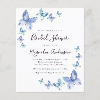 budget butterfly bridal shower invitation