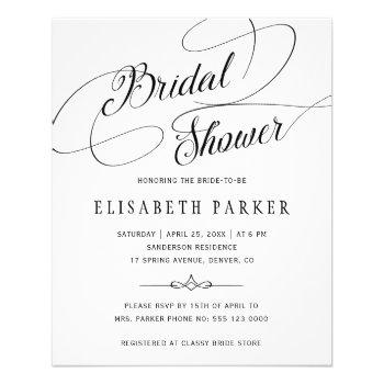 budget chic calligraphy bridal shower invitation flyer