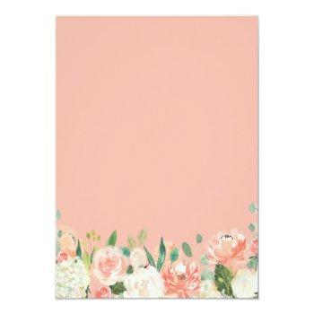 Budget Chic Coral Floral Bridal Shower Invitation Front View