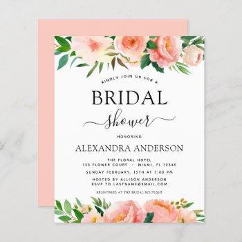 budget coral peach floral bridal shower invitation