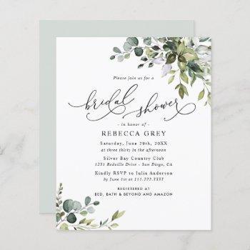budget elegant greenery bridal shower invitation