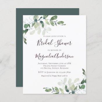 budget eucalyptus bridal shower invitation