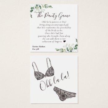budget eucalyptus bridal shower panty game card