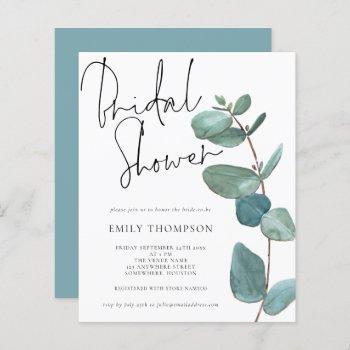 budget eucalyptus leaf bridal shower invitation