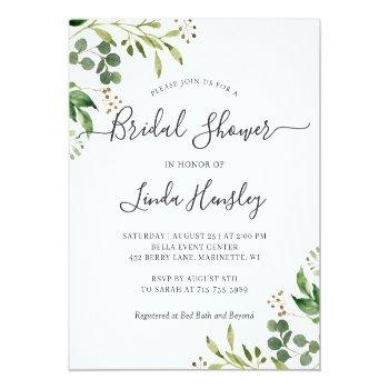 Budget Eucalyptus Leaves Bridal Shower Invitations Front View