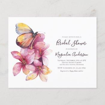 budget floral butterfly bridal shower invitation