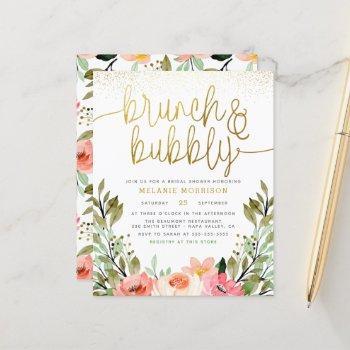budget gold floral brunch & bubbly bridal shower