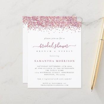 budget pink glitter bridal shower invite