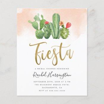 budget pink watercolor cactus fiesta bridal shower