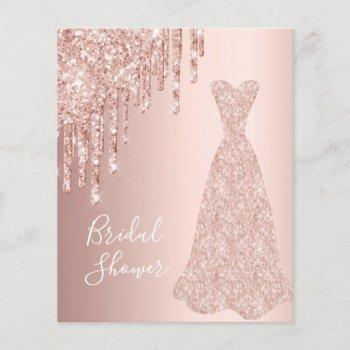 budget rose gold glitter bridal shower invitation