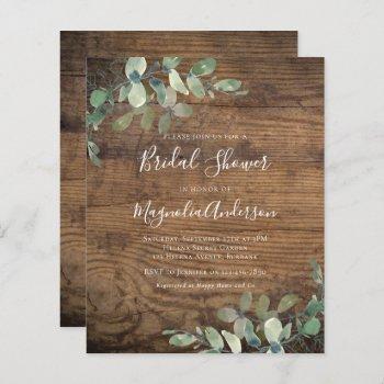 budget rustic eucalyptus bridal shower invitation