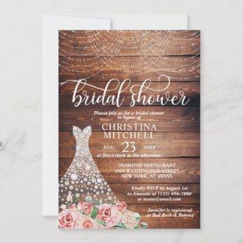 budget rustic pink floral white gown bridal shower invitation