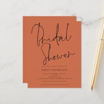 budget script terracotta bridal shower invitation