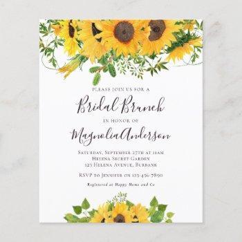 budget sunflower bridal shower brunch invitation