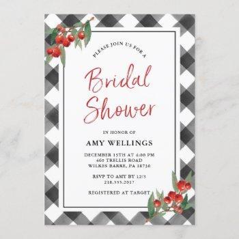 buffalo check black & white rustic bridal shower invitation