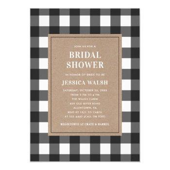 buffalo plaid black and white bridal shower invitation