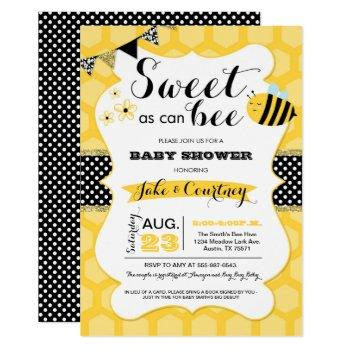 bumblebee sweet as can bee baby shower invitation