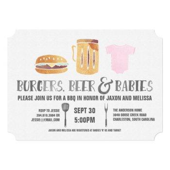 burgers, beer 'n babies -pink baby shower invitation