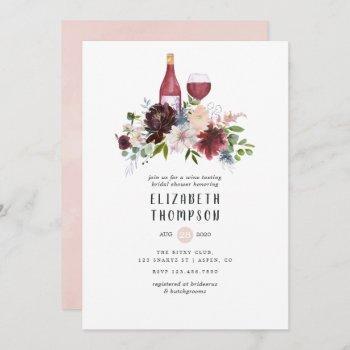 burgundy and blush pink wine tasting bridal shower invitation