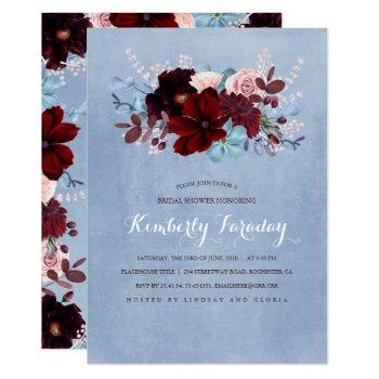 burgundy and dusty blue floral bridal shower invitation