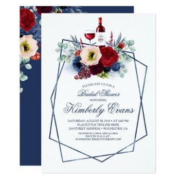 burgundy and navy blue wine tasting bridal shower invitation