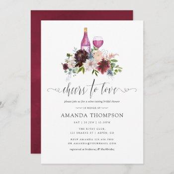 burgundy and navy bridal shower wine tasting invitation