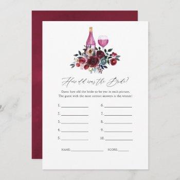 burgundy and navy wine tasting bridal shower game invitation