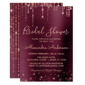 burgundy and rose gold bridal shower invitation