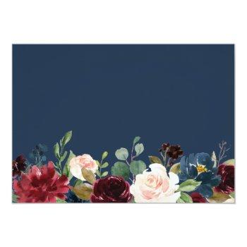 Burgundy Bloom Floral Navy Blue Bridal Shower Invitation Front View