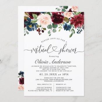 burgundy blue blush flowers virtual bridal shower invitation
