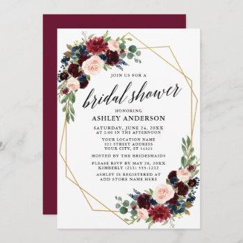 burgundy blue geometric gold bridal shower invitation