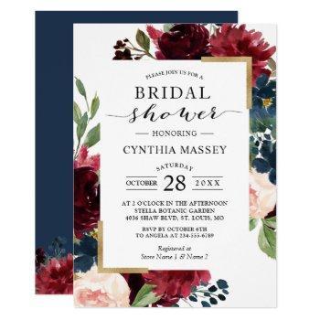 burgundy blush blue floral modern bridal shower invitation