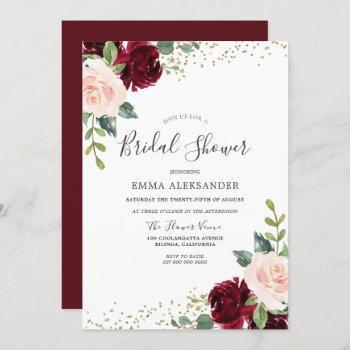 burgundy blush floral bridal shower invitation
