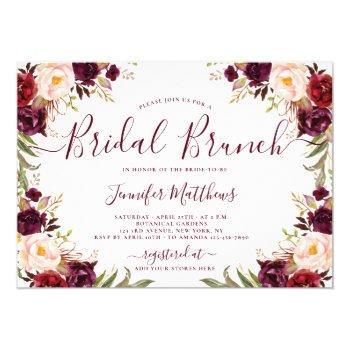 burgundy blush floral elegant script bridal brunch invitation