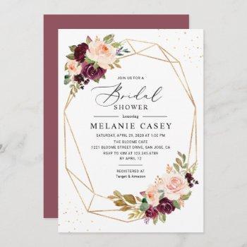 burgundy blush floral gold geometric bridal shower invitation