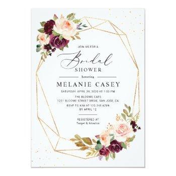 Burgundy Blush Floral Gold Geometric Bridal Shower Invitation Front View