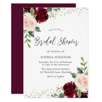 burgundy blush floral gold glitter bridal shower invitation