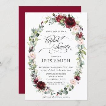 burgundy blush floral leafy wreath bridal shower invitation