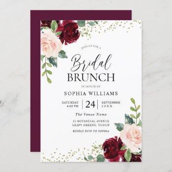 burgundy & blush flowers bridal shower brunch  invitation