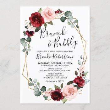 burgundy blush modern geometric bridal shower invitation